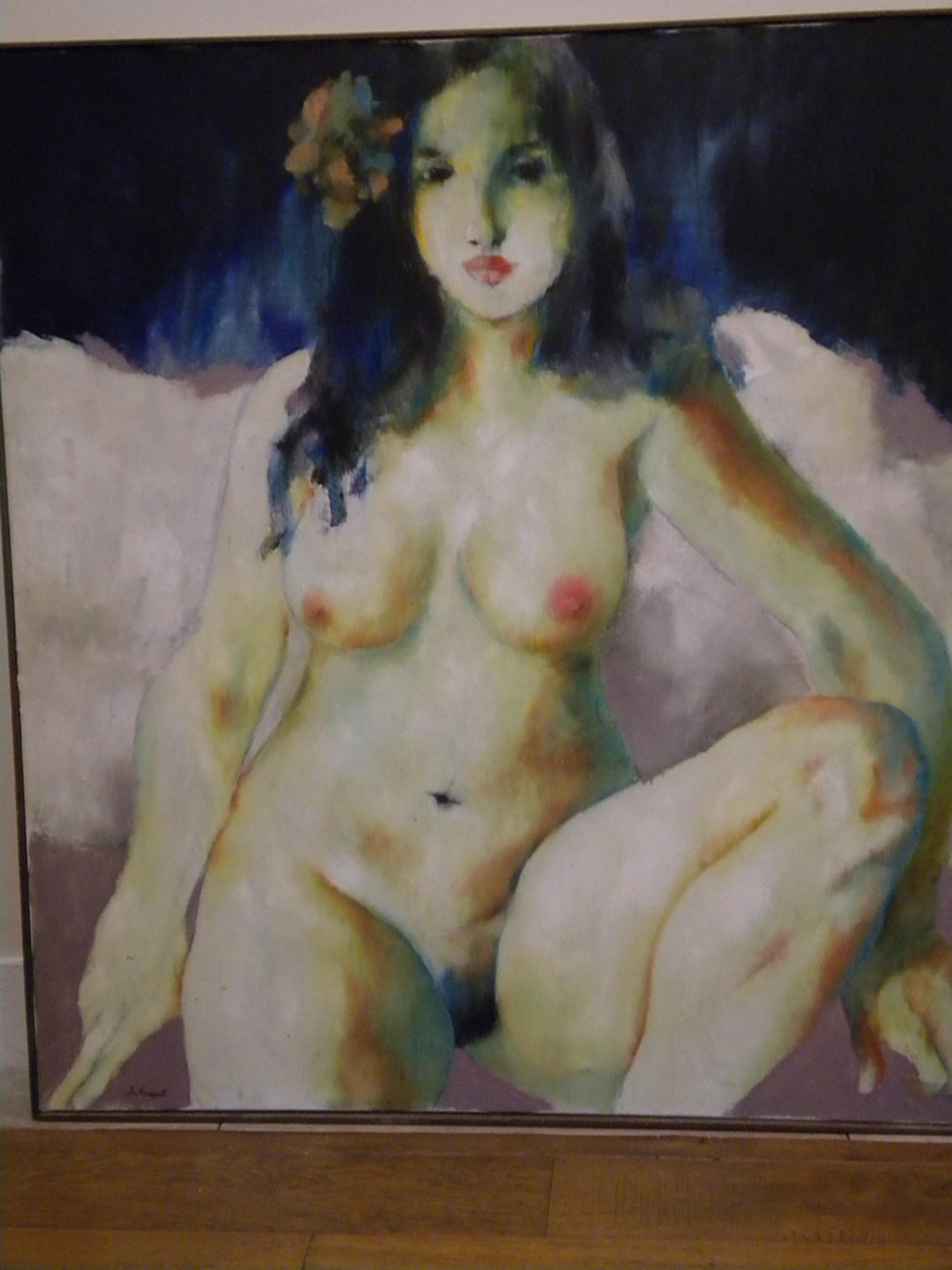 """Peinture sur toile """"la belle ronde nue"""" Christian HOCQUET (année 1978)"""