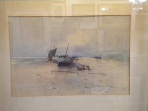 """Aquarelle """"bord de plage avec bateau""""  L. ALLARD"""