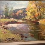 """Huile sur toile """"Paysage à la rivière"""" José WOLFF"""