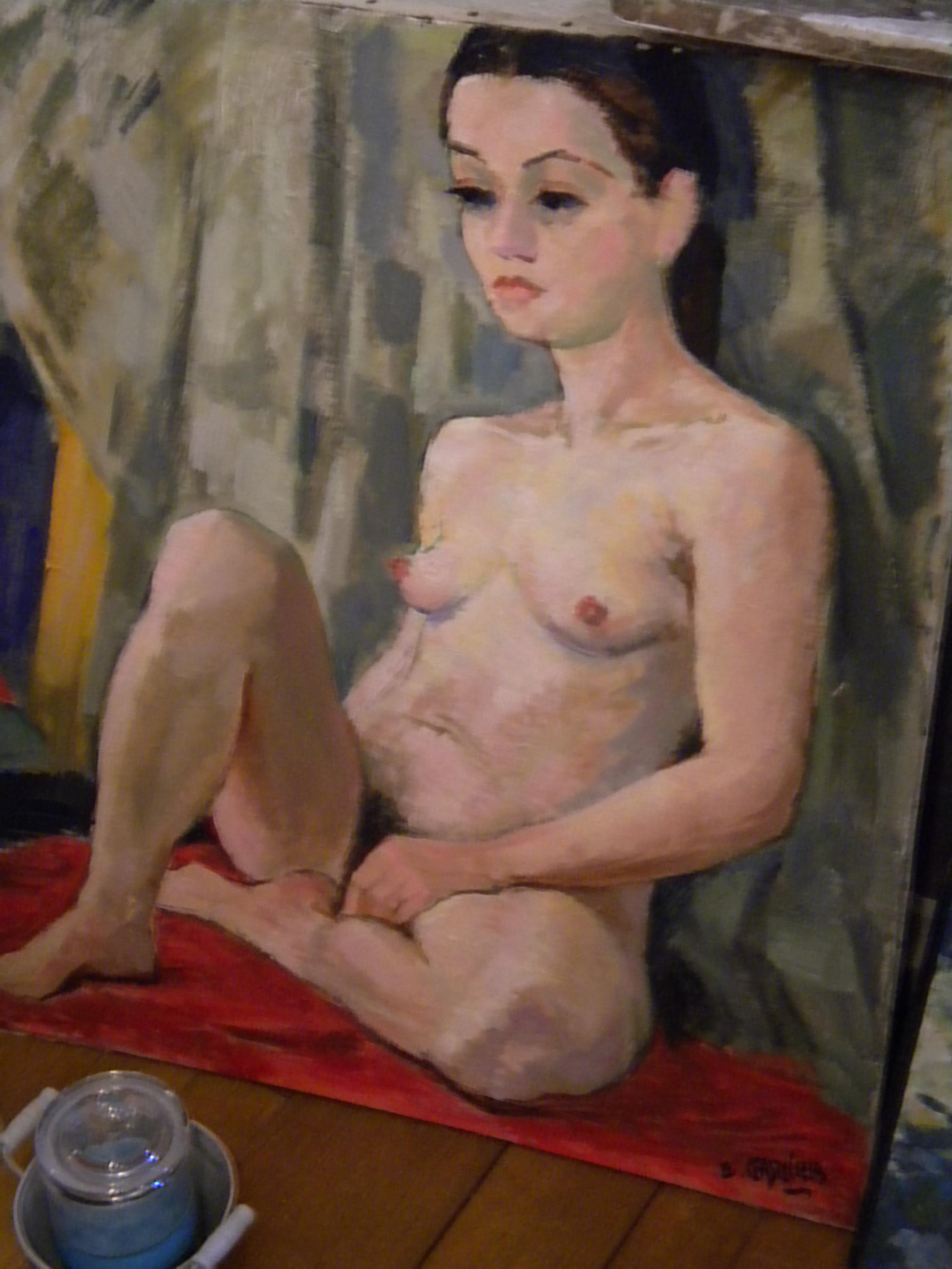 Huile sur toile : Nu de Ernest GASNIER (Peintre français)