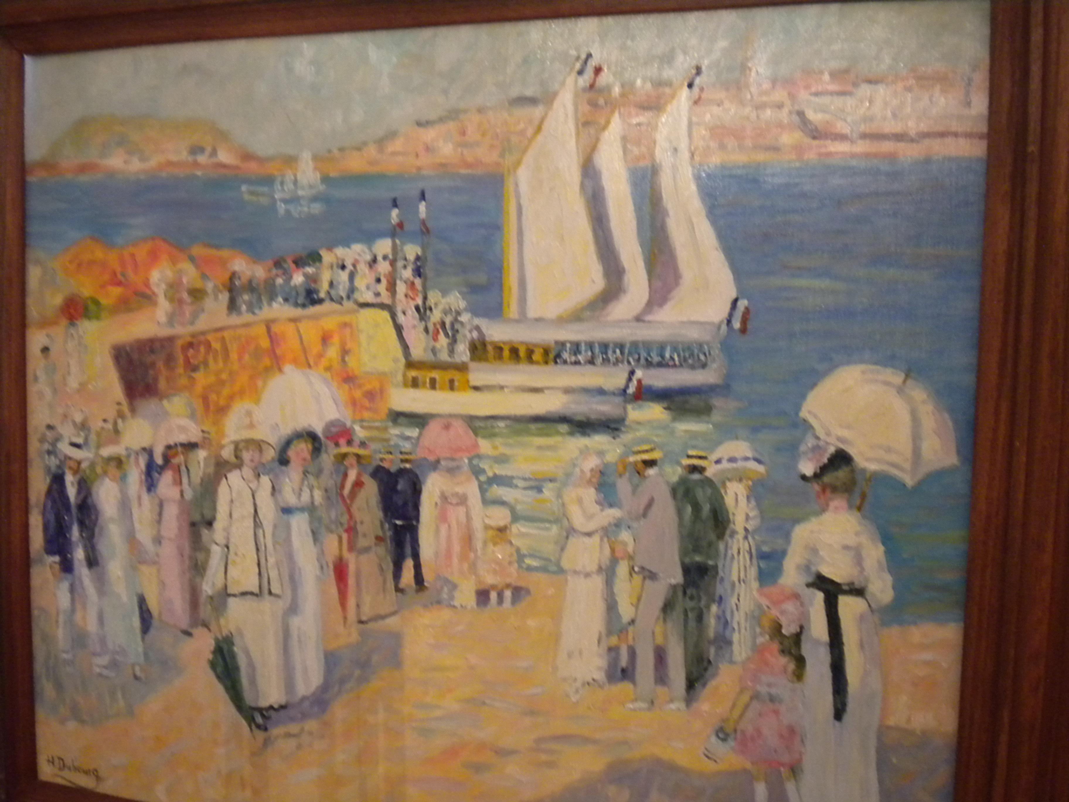 """Peinture huile sur panneau """"Promenade dans le port"""" de Hélène Dubourg"""