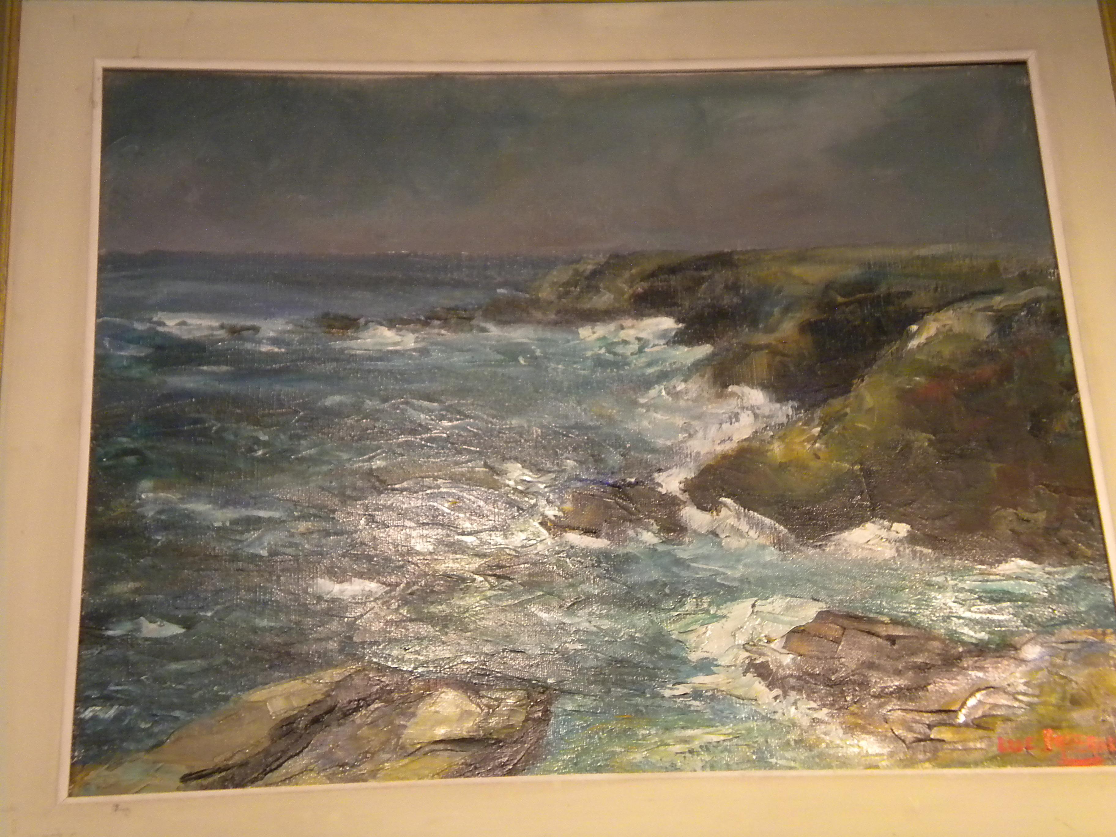 """""""Mer à l'attaque des rochers"""" Luc Faisant Peintre verviétois (près de Liège)"""