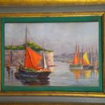 Petite peinture sur panneau : Voiliers au port