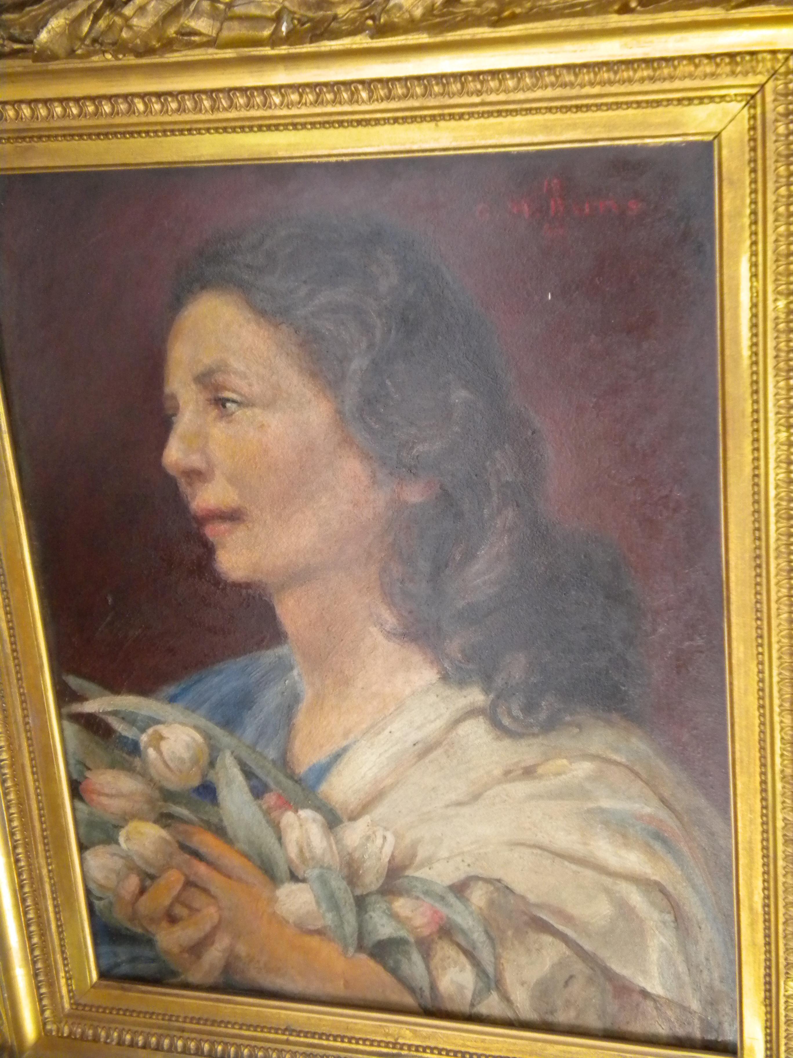 Peinture à l'huile - Portrait de dame aux tulipes C. M. Baltus 1946